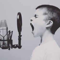 Boy at microphone