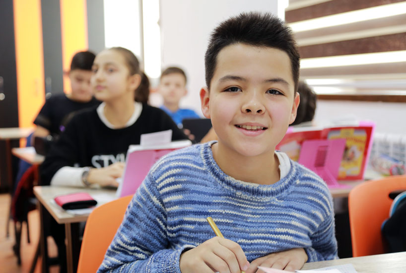 Student in classroom